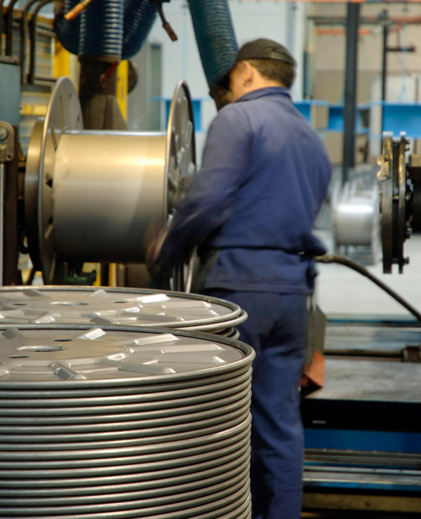 In-house manufacturing of custom metal reels